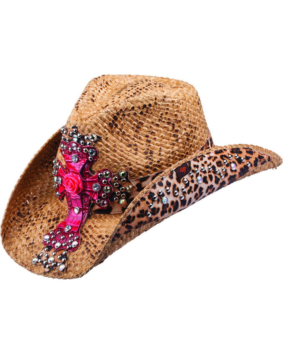 Peter Grimm Women's Leopard Cross Straw Hat, Brown, hi-res