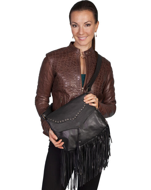 Scully Women's Flap and Fringe Leather Handbag, Black, hi-res