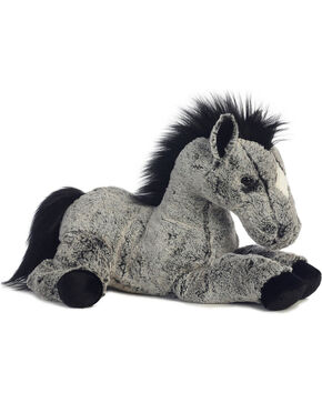 Aurora Kid's Plush Horse, Black, hi-res