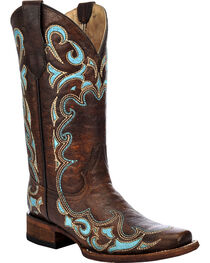 Circle G Women's Honey Embroidered Western Boots, Honey, hi-res