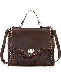 American West Women's Chestnut Hidalgo Top Handle Convertible Flap Bag, , hi-res