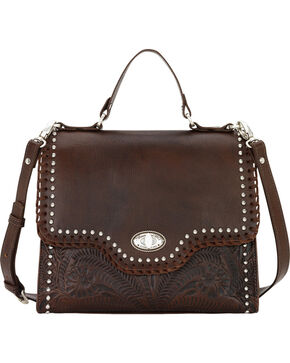 American West Women's Chestnut Hidalgo Top Handle Convertible Flap Bag, Brown, hi-res