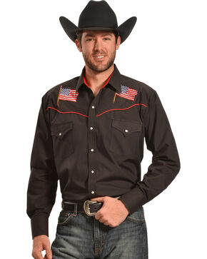 Ely Cattleman Men's Black American Flag Western Shirt , Black, hi-res