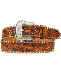 Nocona Tooled Hair-on-Hide Inlay Concho Belt, , hi-res
