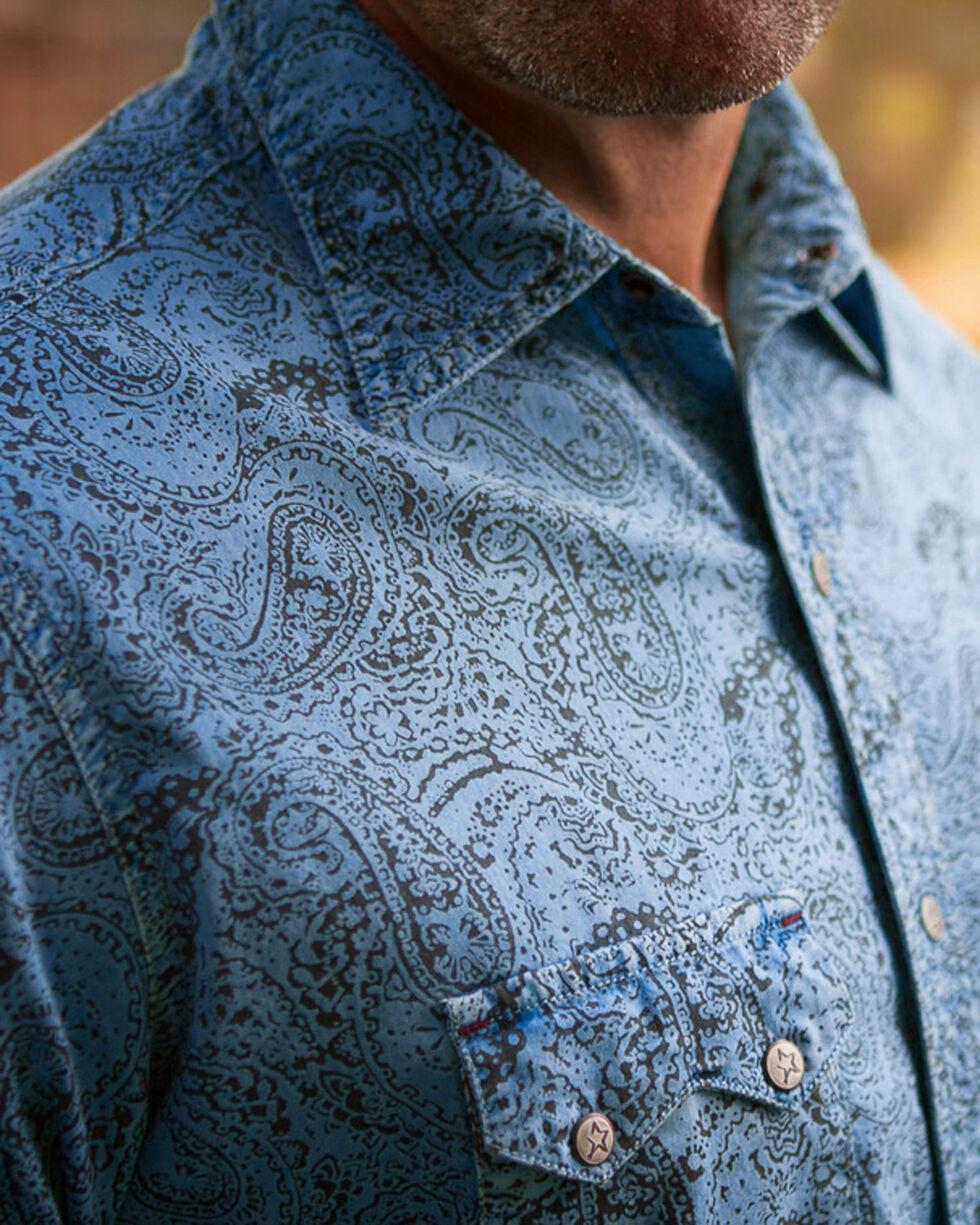 Ryan Michael Men's Distressed Paisley Short Sleeve Shirt , Bright Blue, hi-res