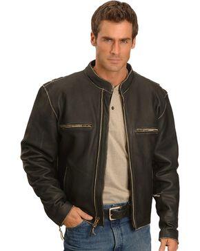 Milwaukee Men's Crazy Horse Leather Motorcycle Jacket, Black, hi-res