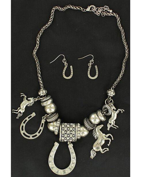 Blazin Roxx Western Charm Necklace & Earrings Set, Silver, hi-res