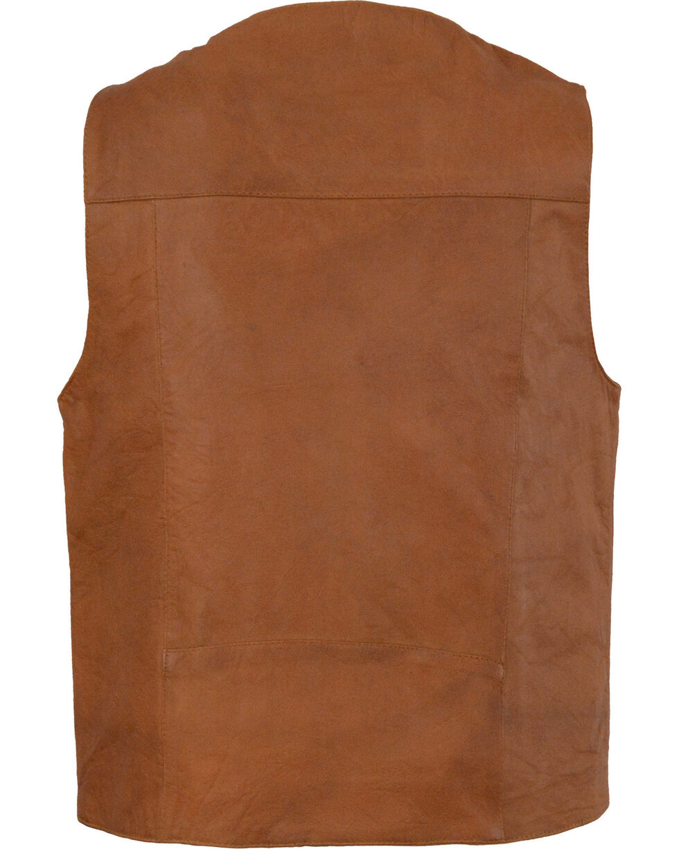 Milwaukee Leather Men's Western Plain Side Vest, Tan, hi-res