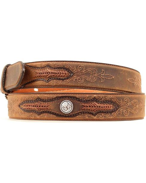 Ariat Embroidered Leather Laced Overlay Belt, Brown, hi-res