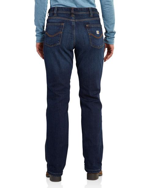 Carhartt Women's Boone Relaxed Fit Flannel-Lined Jeans, Indigo, hi-res