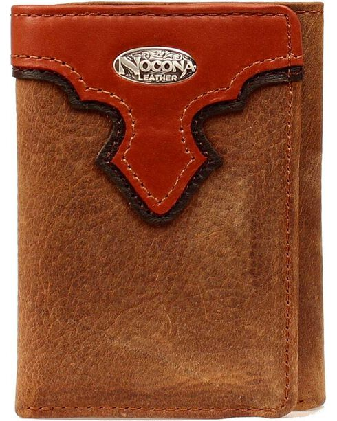 Nocona Men's Tri-Fold Leather Overlay Wallet, Copper, hi-res