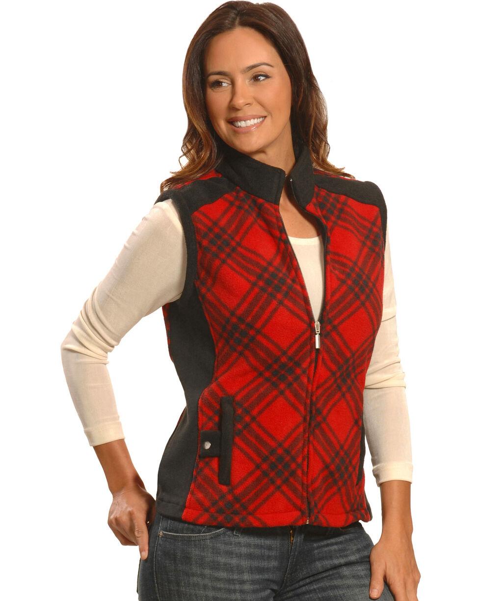 Jane Ashley Women's Red and Black Plaid Polar Fleece Vest , Red, hi-res