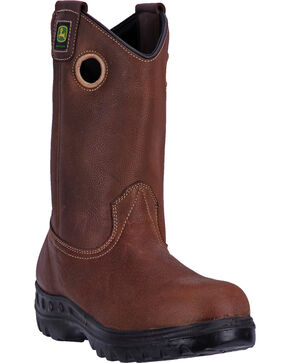 John Deere®  Men's Waterproof Steel Toe Western Work Boots, Brown, hi-res