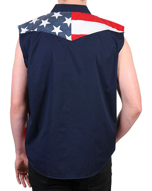 Cody James Men's American Flag Sleeveless Shirt, Multi, hi-res