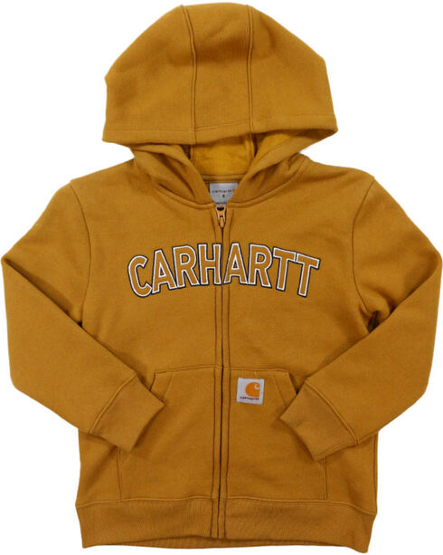 Carhartt Little Boys' Logo Fleece Zip Sweatshirt, Brown, hi-res