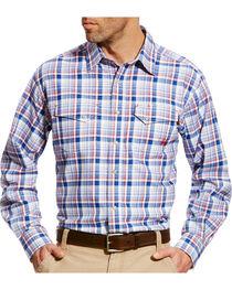 Ariat Men's Karnes Blue Multi FR Plaid Snap Work Shirt, , hi-res