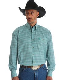Wrangler Men's Blue George Strait One Pocket Print Shirt - Big & Tall , , hi-res