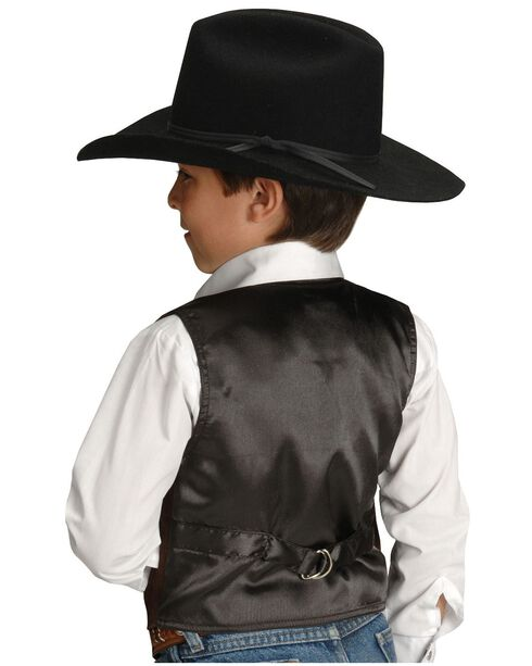 Roper Boys' Western Suede Vest - 7-12, Brown, hi-res