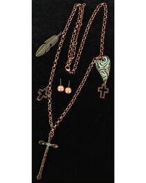 Blazin Roxx Patina Copper Charms Necklace & Earrings Set, , hi-res