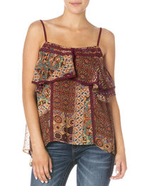 Miss Me Women's Burgundy Handkerchief Spaghetti Strap Top, , hi-res