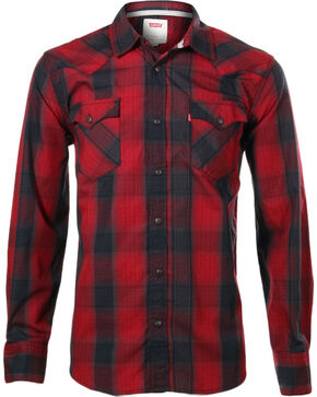 Levi's Men's Long Sleeve Plaid Shirt , Red, hi-res