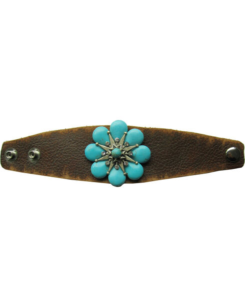 Cowgirl Confetti Leather with Stone Flower Cuff, Brown, hi-res