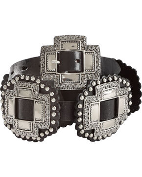 "Roper Women's Black 1"" Cross Slide Conchos Leather Belt, Black, hi-res"