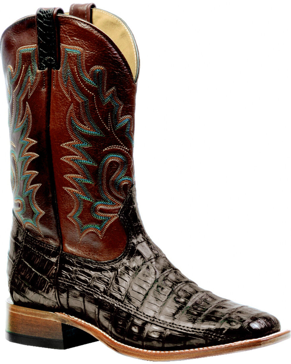 Boulet 3-Piece Chocolate Caiman Belly Boots - Square Toe, Chocolate, hi-res