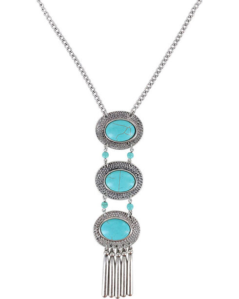 Shyanne® Women's Layered Concho Necklace, Turquoise, hi-res