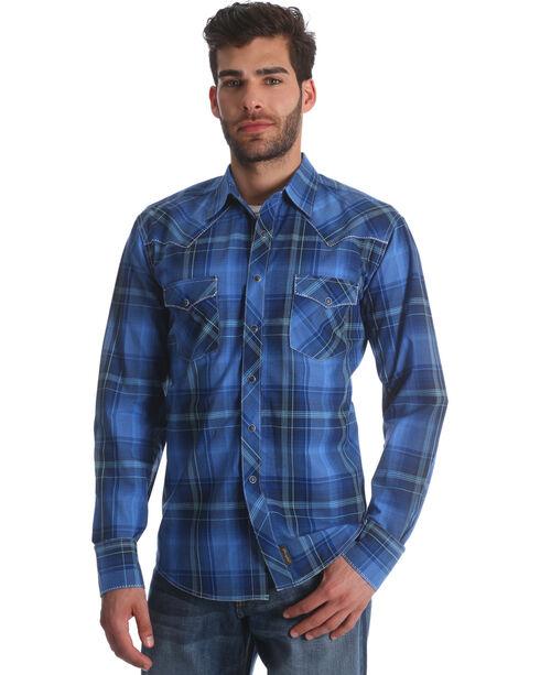 Wrangler Retro Men's Blue Plaid Long Sleeve Shirt, Blue, hi-res