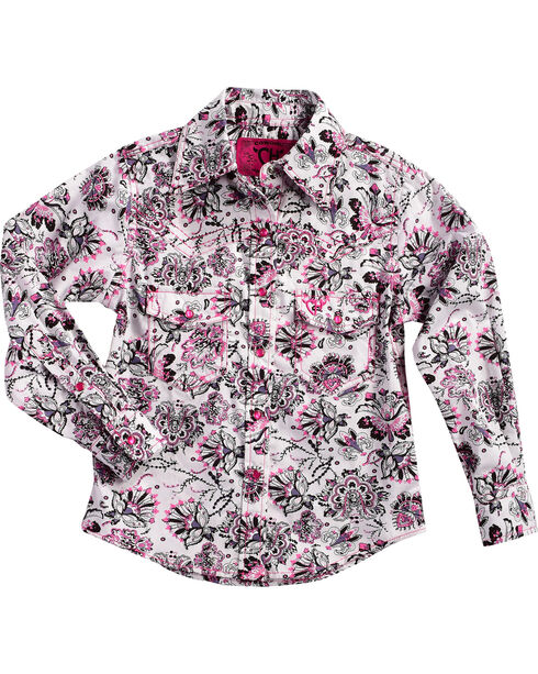 Cowgirl Hardware Girls' Peacock Long Sleeve Shirt, Pink, hi-res
