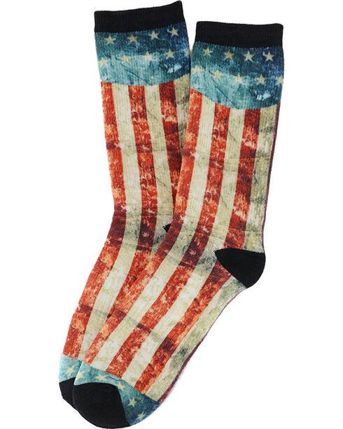 K Bell Men's Distressed American Flag Crew Socks, Red, hi-res