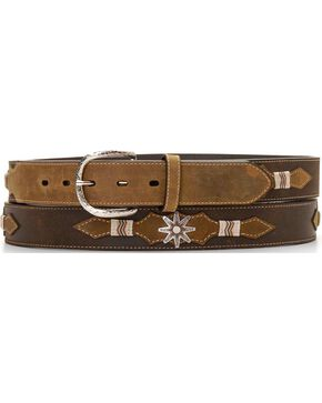 Leather Overlay Spur Rowel Concho Belt, Brown, hi-res