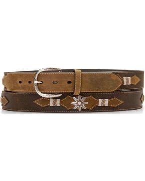 Leather Overlay Spur Rowel Concho Belt, Brown, hi-res