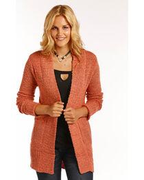 Panhandle Women's Pink Rib Knit Cardigan , , hi-res