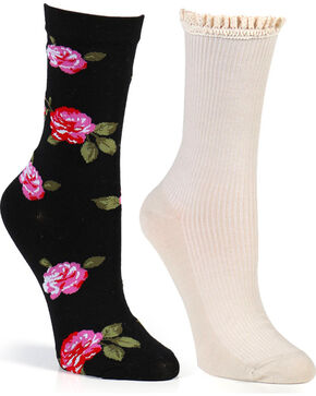 Shyanne® Women's Floral and Solid Crew Sock Set, Multi, hi-res