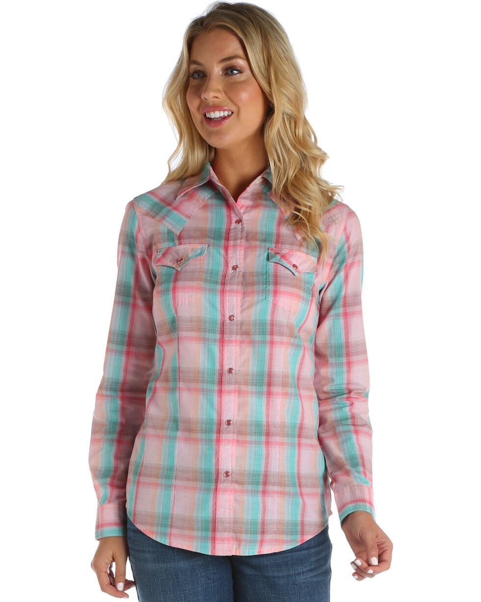 Wrangler Women's Pink Plaid Long Sleeve Western Snap Shirt, Pink, hi-res