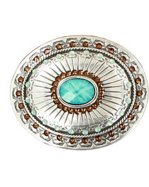 Blazin Roxx Silver Plated Topaz and Opal Belt Buckle, , hi-res