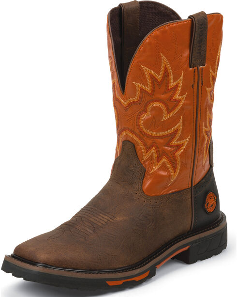 "Justin Men's 11"" Hybred Western Work Boots, Brown, hi-res"
