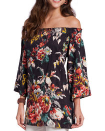 Rancho Estancia Women's Off the Shoulder Floral Long Sleeve Top, , hi-res