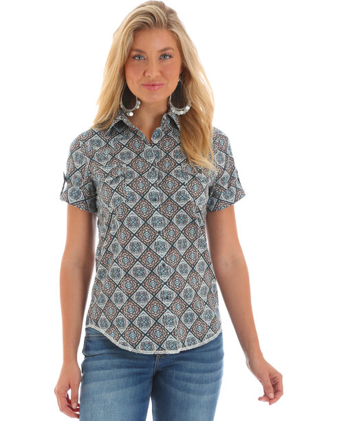 Wrangler Women's Blue Tabs Print Short Sleeve Shirt , Blue, hi-res