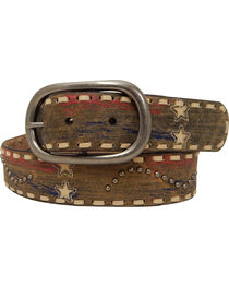 Roper Women's Tan Americana Print Belt, , hi-res