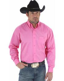 Wrangler Men's Tough Enough To Wear Pink Solid Shirt - Tall , , hi-res