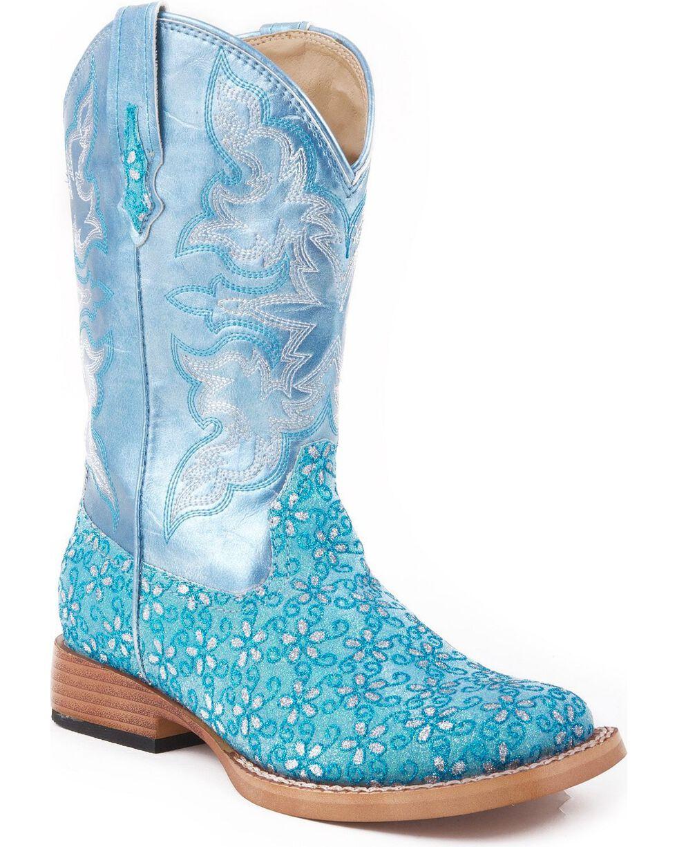 Roper Kid's Floral Glitter Western Boots, Blue, hi-res