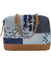Bandana by American West Indigo Zip Top Satchel Tote, , hi-res