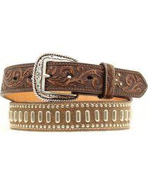 Ariat Floral Tooled Textured & Studded Leather Belt, , hi-res