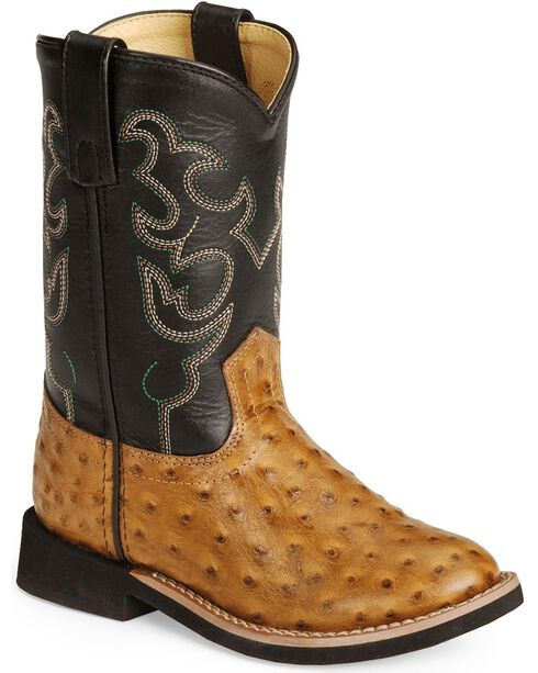 Smoky Mountain Kid's Ostrich Print Crepe Western Boots, Cognac, hi-res