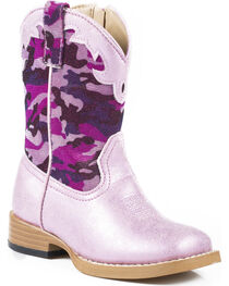 Roper Toddler Girls' Glitter Camo Cowgirl Boots - Square Toe, , hi-res