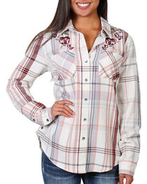 Shyanne Women's Plaid Embroidered Long Sleeve Shirt , , hi-res