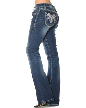 Grace in LA Women's Medallion Embroidered Boot Cut Jeans, Indigo, hi-res
